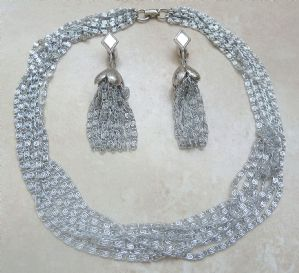 Vintage Sarah Coventry ' Silvery Cascade ' Necklace And Earring Set.